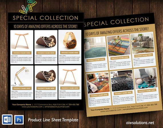 line sheet template product look book mini product brochure