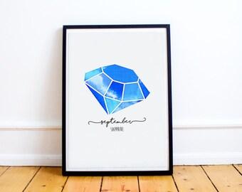 September Birthstone Print - Personalised - September - Sapphire - Wall Art - Nursery Decor - Birthday Gift - Baby Gift - Nursery Wall Art