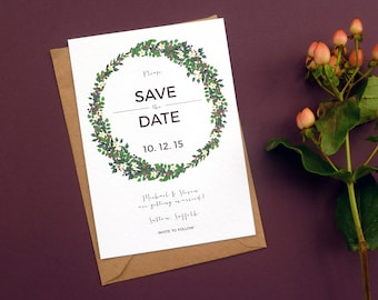 Autumnal Botanical Save The Date | Pink, Purple and White Floral Save The Date | Sample