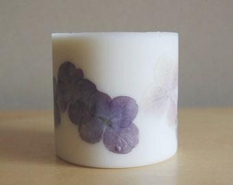 Hydrangea Soy Wax Pillar Candle (Large)
