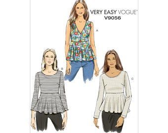 Vogue V9056 Size 14-22 Misses' Pullover Tops Sewing Pattern / UNCUT Factory Folded