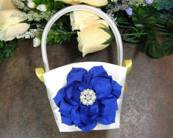 CUSTOM COLOR Flower Girl Basket, Wedding Flower Basket, Royal Blue and Yellow Flower Basket, Pearl and Crystal Rhinestone Wedding Baskets