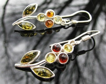 Amber and Sterling flower earrings