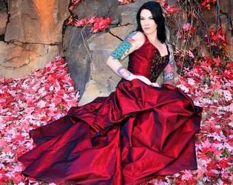 red wedding gown, romantic custom made alternative gown