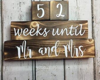 Weeks Until Wedding Countdown. Countdown to Wedding. Countdown Mr. and Mrs. Personalized Countdown Blocks. Distressed Blocks.