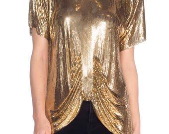 Gold Metal Metal Mesh Whiting  Davis Short Sleeve Top Size: L