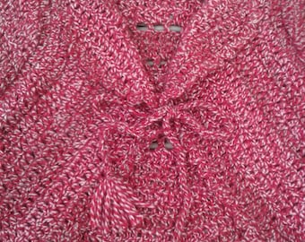 Red and pink girl crochet cardigan