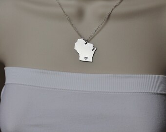 Wisconsin State Necklace, ANY City State Necklace, WI Necklace, State Jewelry