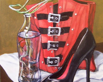 Still Life with Red Corset, 11x14 acrylic