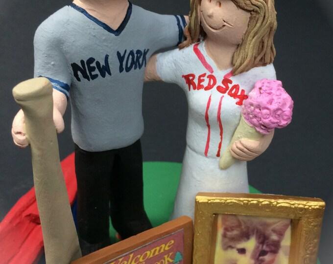 Boston Red Sox Bride Baseball Wedding Cake Topper, New York Yankees Wedding Cake Topper, Baseball Wedding Cake Topper