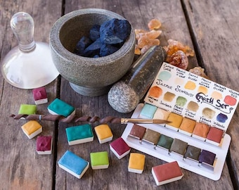 Special Selection Earth Set of 12- Artisan Handmade Watercolor paint Set made from Genuine World Earth Pigments