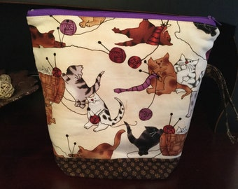 Cats Playing with Yarn Knitting Project Bag