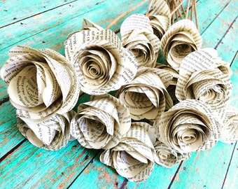 12 Rolled Book Page Roses
