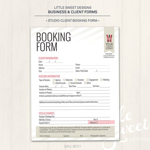 Photography studio client booking form photoshop template accmission Images