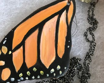 Hand Painted Butterfly Necklace