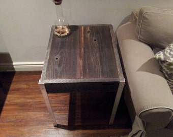 The Horizontal Side table with Aluminium  Legs - Old barn Wood Coffee Table