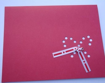 Holiday Embellished Candy Cane - One Premium Hand-hammered Greeting Art Card - Christmas Greeting DDOTS