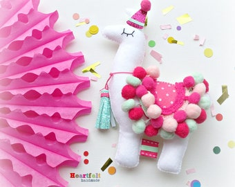 Party Birthday Llama Alpaca Hanging Ornament Decoration Theme Decor Fiesta Cake Topper pink Mint