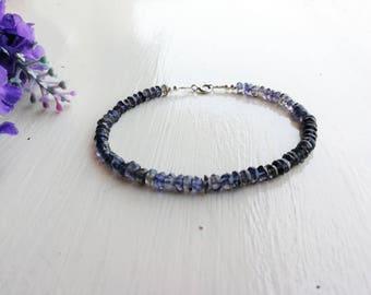 Iolite bracelet, jewelry iolite, minimalist bracelet, semiprecious stone bracelet
