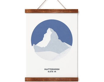 Matterhorn Mountain Print, Switzerland, Swiss alps, Mountain print, A4 Print