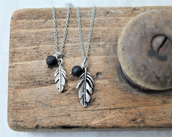 MOMMY & ME feather diffuser necklace set, feather charm diffuser necklace for mom and child, gift for mom, aromatherapy jewelry, jewelry set