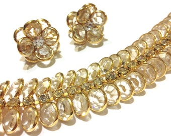 Sparkling Bezel Set Crystal, Rhinestone Bracelet, Earring Set