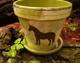 Flower Pot with Horse - Horse Lover Gift - Painted Flower Pot - Horse Memorial - Memorial Planter
