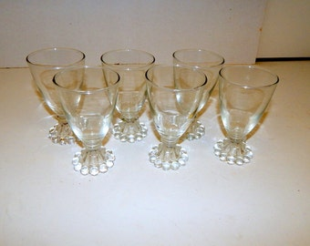 Vintage  6 Bubble or Boopie Clear Juice Glasses Anchor Hocking