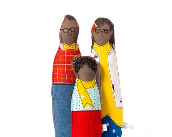 Family Portrait dolls , Fabric doll , African Family , hipster Family , boy doll , soft sculpture , 3D family portrait look alike cloth doll