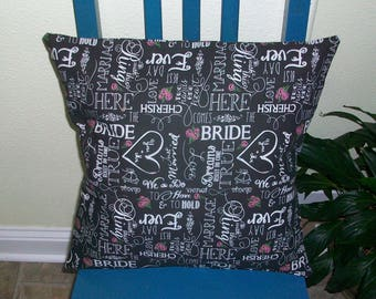 16x16 Wedding print. Item (17) Pillow Cover Free Shipping