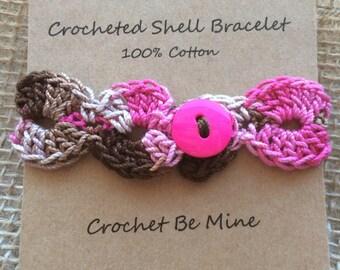 Derby Pink crocheted bracelet