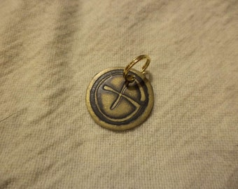 Etched Brass Geocaching Charm