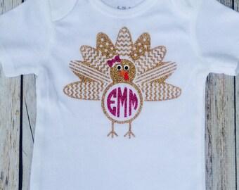 Thanksgiving monogrammed turkey bodysuit, turkey monogram
