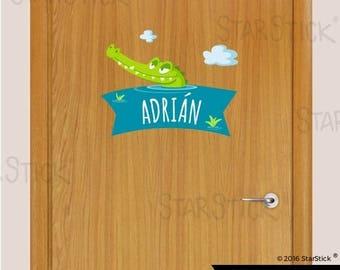 Customized sticker door name Crocodile- Wall Decal Sticker