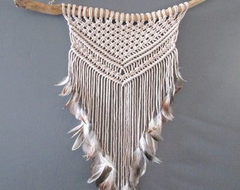 Macrame wall natural driftwood and feathers