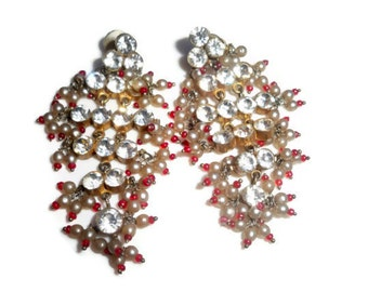 Vintage Rhinestone and Pearl Dangle Earrings from India - Glam Boho