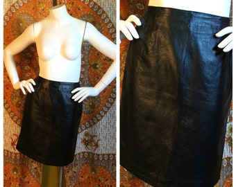 SALE! 80s 90s Black Leather Mini Skirt Small