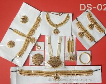 Traditional Kemp 10 piece temple jewelry set for Bharatnatyam, Kuchipudi, Parties, Engagement, Weddings, Birthdays etc..