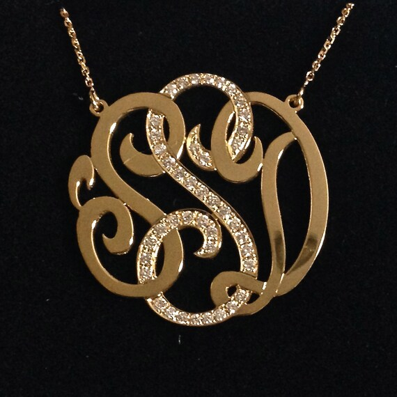 Medium 14k gold monogram necklace with diamond middle initial aloadofball Image collections