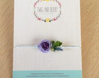 Purple Heather Newborn Tieback. Baby Headband, Newborn Photo Prop, Purple Lilac Prop, Photography Prop, Organic Natural Prop, Pastel Flower