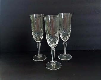 Vintage Champagne Flute Crystal Stemware Set of Three Celebration Toasting Glasses