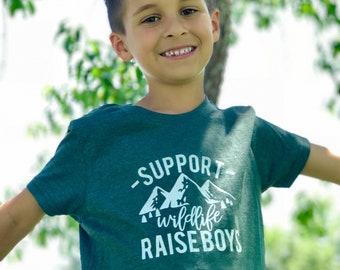 Support Wildlife Raise Boys Shirt Raise Boys tshirt outdoors Shirt Boy nature TShirt matching Mom funny graphic tee