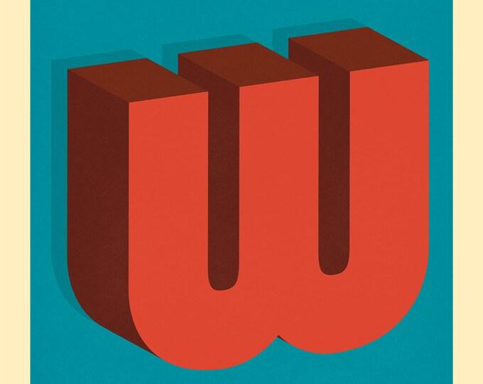 The Letter W, Original Giclee Art Print, Typography, Alphabet, Monogram, Red Orange, Burgundy, Blue