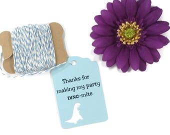 Dinosaur Party Tags 20pc - Dino Mite Party Tags for Boy's Birthday Party - T Rex Tags - Thank You Favor Tag - Baby Blue Tyrannosaurus Tags
