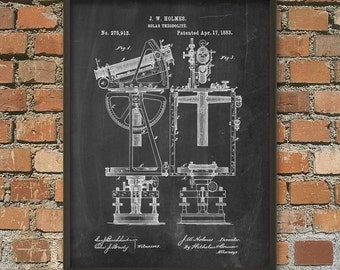 Solar Theodolite Patent Print - Surveyor's Transit - Transit - Theodolite - Survey Equipment - Measurement Of Horizontal And Vertical Angles