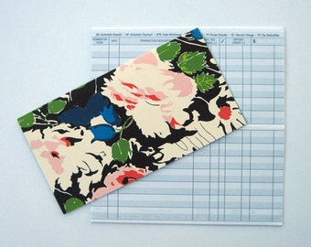 Checkbook Cover in Amy Griffin Navy, Pink and White Florals
