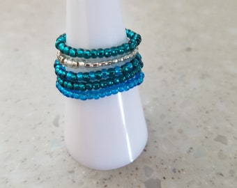 Aqua turquoise stackable ring (set of 5)
