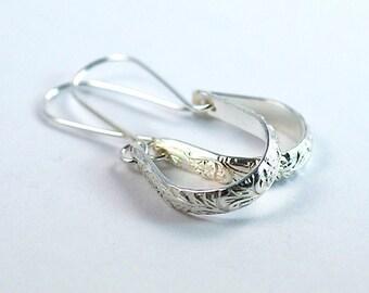 Sterling Silver Earrings, Handmade Earrings, Long Floral Earrings, Long Dangle Earrings, Elegant Earrings, Mother's Day Gift, Floral Pattern