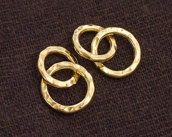 2 of Karen hill tribe 24k Vermeil Style Double Hammered Circle Rings Charms 10,12 mm. :vm0789