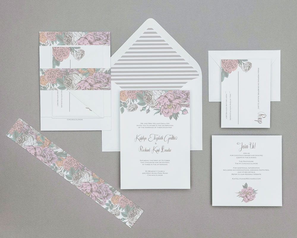 Boho Rustic Pastel Floral Wedding InvitationsModern Boho